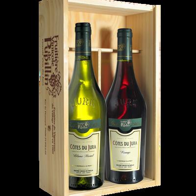Côtes du Jura FRUITIERE VINICOLE DE PUPILLIN, coffret en bois de 2 bouteilles de 0.75l