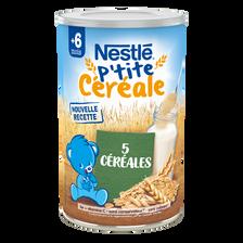 Petit déjeuner infantile P'tite Céréale aux 5 céréales NESTLE, dès 6 mois, 400g