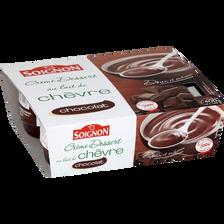 Soignon Crème Dessert Au Chocolat Au Lait De Chèvre , 4x100g