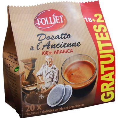 Dosettes souples café à l'ancienne arabica FOLLIET, x18+2 of
