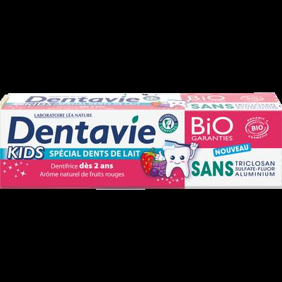 Dentifrice kids 2/6 ans bio DENTAVIE 75ml