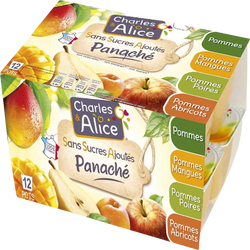 Dessert fruitier sans sucre ajouté pomme/pomme mangue/pomme abricot/pomme poire CHARLES & ALICE, 12x100g