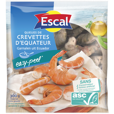 Queues de crevettes easy peel ASC ESCAL, 300g