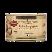 Canard Les Lentilles Au Canard Et À La Saucisses De Toulouse Maison Riviere,boîte De 1,580kg