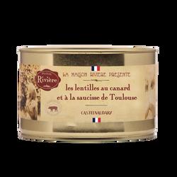 Les lentilles au canard et à la saucisses de Toulouse MAISON RIVIERE,boîte de 1,580kg
