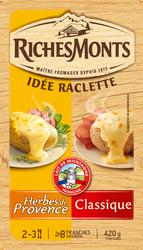 Fromage à raclette au lait pasteurisé duo classique et herbes de Provence 26% de matière grasse RICHES MONTS, 420g