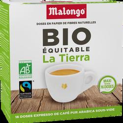 Café La Tierra BIO commerce équitable MALONGO, boîte de 16 dosettes, 104g