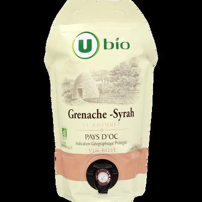 Vin rosé Pays d'Oc grenache syrah IGP Le Bosquet U BIO, 1,5l