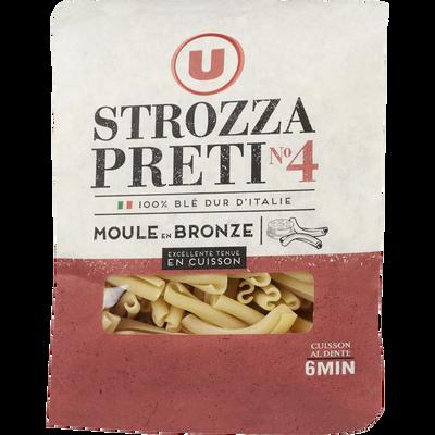 Pâtes Italiennes strozzapreti n°4 U, paquet de 500g