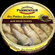 Petites sardines huile d'olive vierge extra aux deux olives PARMENTIER, 150g
