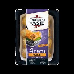 Nems poulet curry TRADITIONS D'ASIE, 4 pièces, 280g