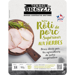 Notre rôti de porc aux herbes cuit supérieur TERRES DE BREIZH, 4 tranches, 160g