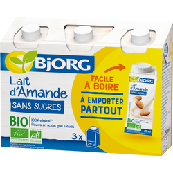 Boisson lait d'amande sans sucres bio BJORG, brique 3x251ml