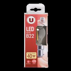 Led U, ronde, 40w, b22, transparent, lumière chaude