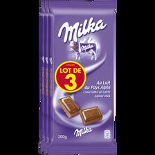 Milka Chocolat Au Lait , 3 Tablettes De 200g