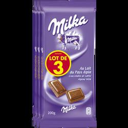 Chocolat au lait MILKA, 3 tablettes de 200g