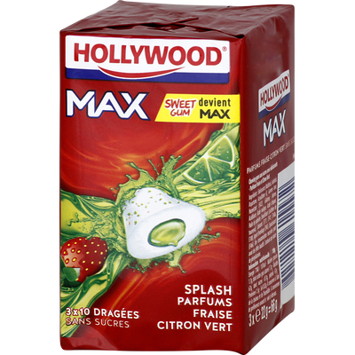 Chewing-gum HOLLYWOOD, max splash fraise citron vert sans sucre lot de3, 66g