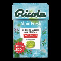 Bonbons alpin fresh sans sucres avec édulcorants RICOLA, boîte de 50g