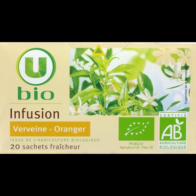Infusion Verveine et Oranger U BIO, 20 sachets, boîte de 30g
