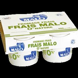 Fromage frais au lait pasteurisé nature, 0% de mg, MALO, 4x100g