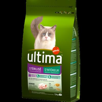 Croquettes pour chats stérilisés d'intérieur ULTIMA, 1,5kg