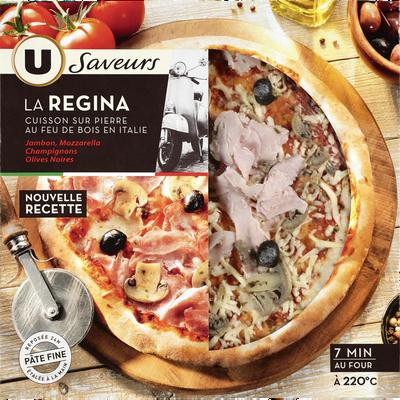 Pizza regina à base de jambon cuit champignons et olives saveurs U, 390g
