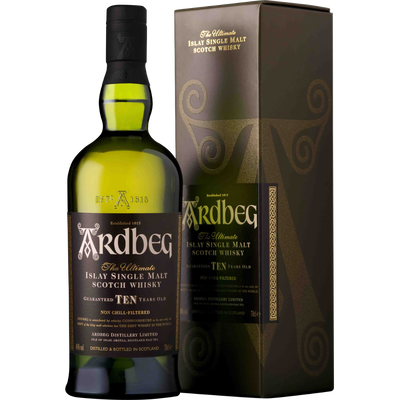 Scotch whisky single islay malt 10 ans ARDBEG, 46°, 70cl sous étui