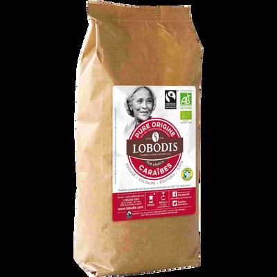 Café en grain pure origine Caraïbes bio LOBODIS, 500g