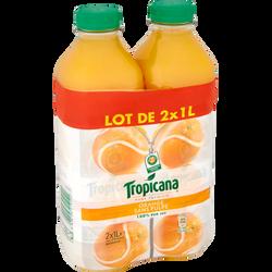 Pur jus d'orange sans pulpe Pure Premium TROPICANA, 2 bouteilles de 1l
