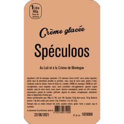 Crème glacée au spéculoos LA TURBINE A SAVEURS, 1 litre