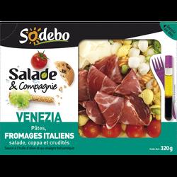 Salade venezia pâte aux fromages italiens coppa et crudités SODEBO, 320g
