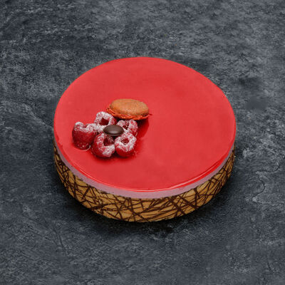 Bavarois framboise chocolat décongelé, 1 pièce, 100g