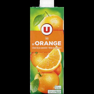 Jus à base de concentré d'orange U, brique de 1 litre