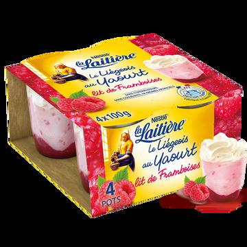 Nestlé Liégeois Au Yaourt Sur Lit De Framboise La Laitiere, 4x100g