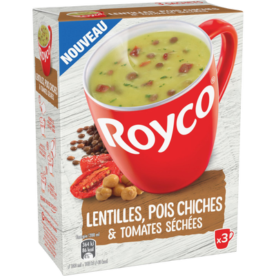 Soupe instantanée lentilles/pois chiches/lentilles ROYCO, 3x22,3g