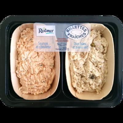 Duo rillettes fraiches saumon ciboulette et thon poivre, transformé France, barquette 250g