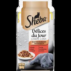 Délices du jour sélection viandes sachet fraîcheur SHEBA, 6 x 50g