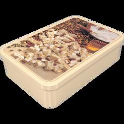 Dominos de nougat tendre de Montélimar, boite à sucre en métal de 200g