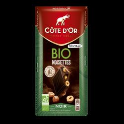 Chocolat noir aux noisettes bio COTE D'OR tablette 150g