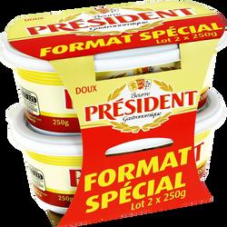 Beurre doux 82% de matière grasse PRESIDENT, 2 barquettes de 250g