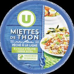 Miettes de thon huile olive peche ligne U, boîte de 160g