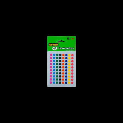 Gommettes SCOTCH, diamètre 8mm,  480 unités, 8 coloris assortis