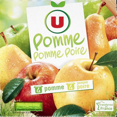 Dessert de fruits panaché 4 pomme et 4 pomme et poire U, 8x100g