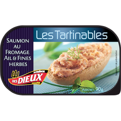 Tartinable au saumon, au fromage et à l'ail & fines herbes LE TRÉSOR DES DIEUX, 90g