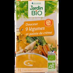Velouté douceur 9 legumes pointe de crème JARDIN BIO, brique tetra de  1l