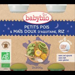 Pot  petits pois maïs riz BABYBIO, dès 6 mois, 2X200G