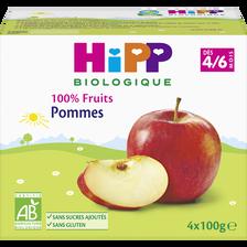 Pots pour bébé bio pomme HIPP, dès 4-6 mois, 4x100g