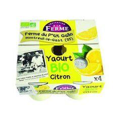 Yaourt BIO Citron (4*125 g) Ferme du P'tit Gallo Montreuil-Le-Gast (35)