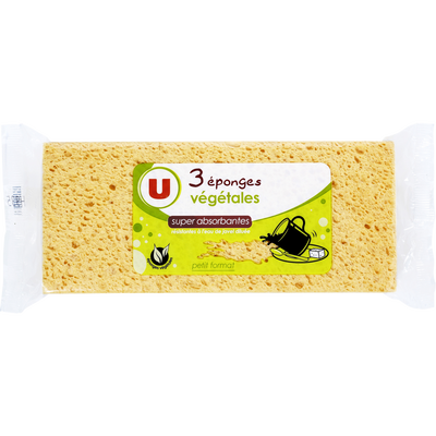 Éponge végétale petit modèle U, x3