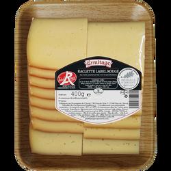 Raclette tranchée Label Rouge, au lait pasteurisé, 28%Mat.Gr, 10 semaines affinage, Ermitage, barquette 400g